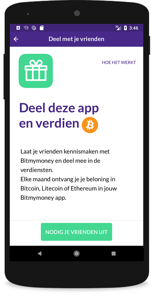 bitmymoney app - referral scherm